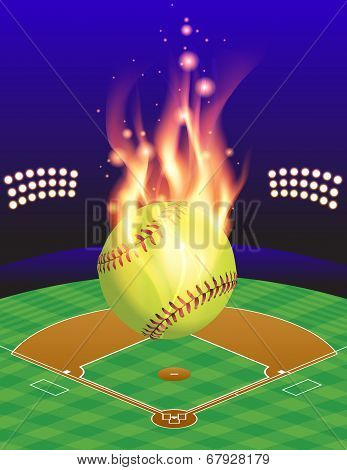 Softball Field And Fire Background