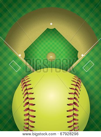 Softball Field And Ball Background Illustration
