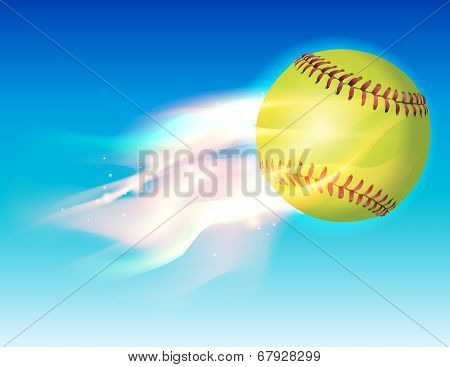 Flaming Softball In Sky Illustration