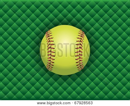 Softball On A Green Checkered Background