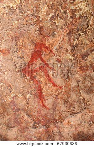 Bushmen (san) rock painting depicting a human figure, Drakensberg mountains, South Africa