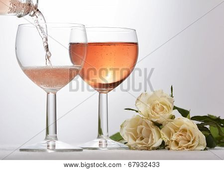 Wine Glass With Red Sparkling Drink