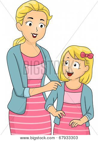 Illustration of a Mother and Daughter Wearing Matching Clothes poster