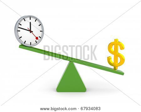 White character between time and money. Money outweighs