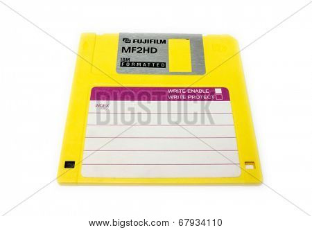 GOMEL, BELARUS - MAY 23, 2014: FUJIFILM MF2HD floppy disk . Fujifilm Holdings Corporation, commonly known as Fujifilm, is a Japanese multinational photography  company headquartered in Tokyo, Japan.