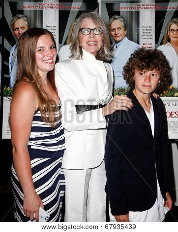EAST HAMPTON, NEW YORK-JULY 6: (L-R) Dexter Keaton, Diane Keaton and Duke Keaton attend the premiere of