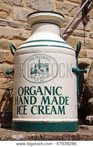 Old painted milk churn.