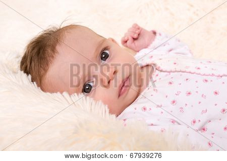 Beautiful Baby Girl Resting On Cream Fur Rug
