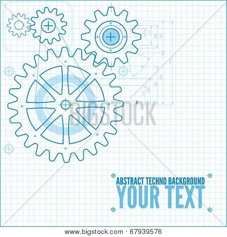 Technical blueprint template illustration on white vector background with cogs poster