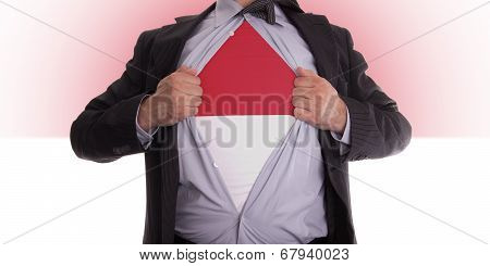 Business Man With Indonesia Flag T-shirt
