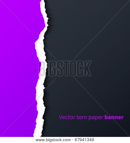 Purple torn paper with drop shadows on dark background