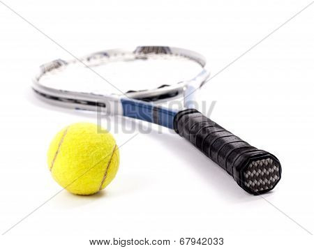 Yellow Tennis Ball And Racket Isolated On A White Background