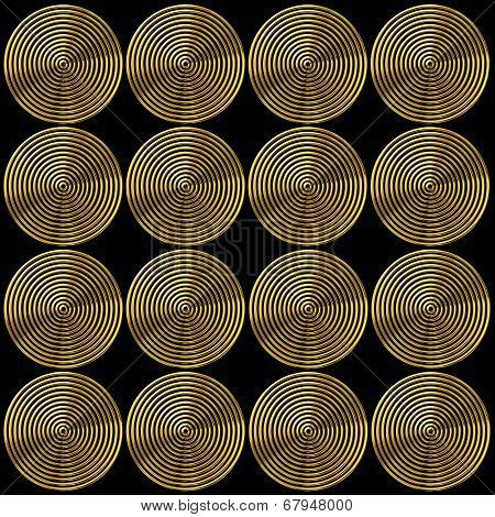 Abstract Pattern Of Gold Circles On Black