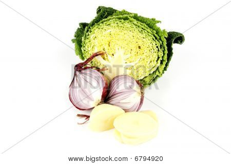 Half A Cabbage With Red Onion And Potato Slices