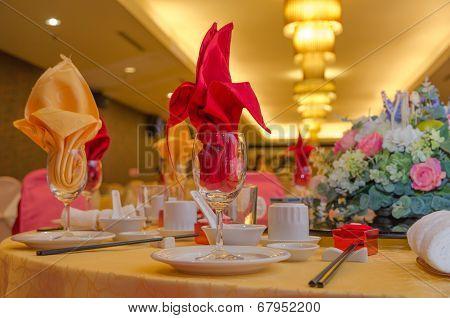 Wedding Table Setup In A Restaurant
