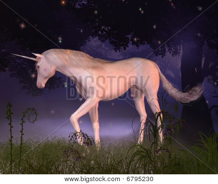 Digital render of a unicorn in a misty forest glade. poster