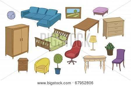 furniture and decoration color vector set
