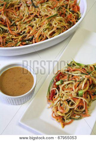 Vegetable Noodle Salad Peanut Sauce Vertical