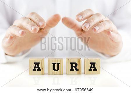 Word - Aura - On Wooden Cubes