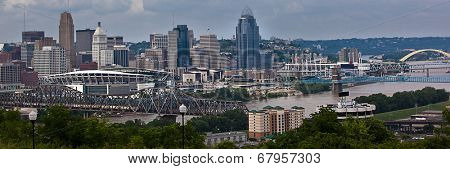 The Cincinnati riverfront shot from Covington, Kentucky.