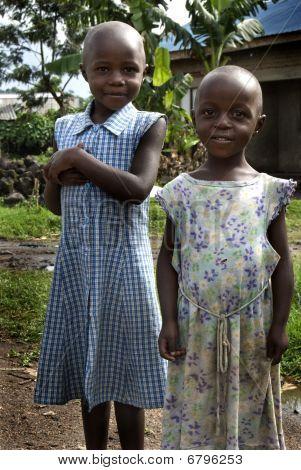Two Girls in Ugandan Village