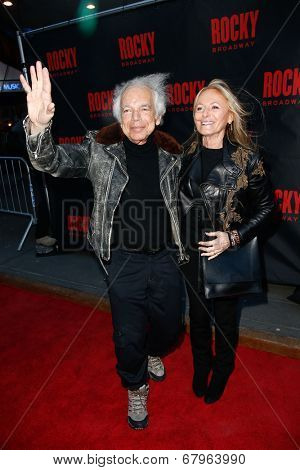 NEW YORK-MAR 13: Fashion designer Ralph Lauren (L) and Ricky Anne Loew-Beer attend the 'Rocky' Broadway opening night at the Winter Garden Theatre on March 13, 2014 in New York City.