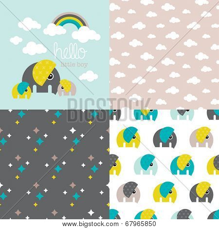 Seamless baby boy elephant illustration pattern collection with rainbow clouds cover invitation design in vector