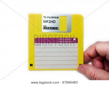 GOMEL, BELARUS - MAY 23, 2014: FUJIFILM MF2HD floppy disk. Fujifilm Holdings Corporation, commonly known as Fujifilm, is a Japanese multinational photography  company headquartered in Tokyo, Japan.