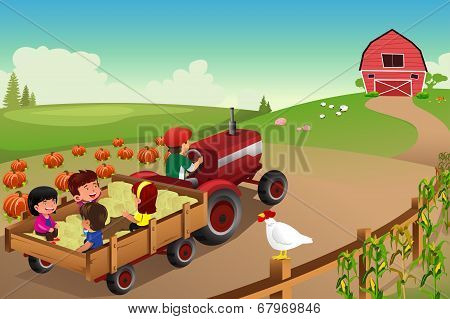 Kids On A Hayride In A Farm During Fall Season