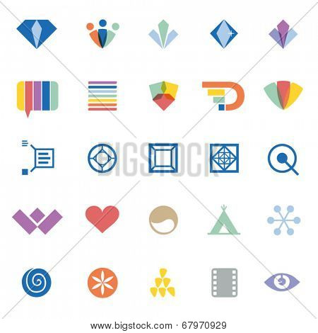 creative graphic design elements & symbols - set of different vector flat icons