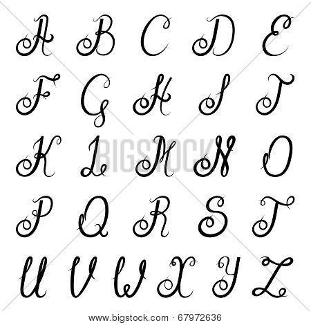 Calligraphy alphabet black