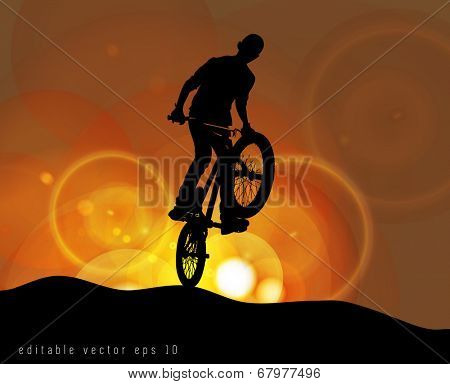 BMX cyclist performing stunt, EPS 10.vector