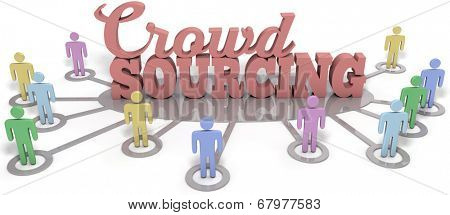 Crowdsource people contribute user generated content to business startup  poster