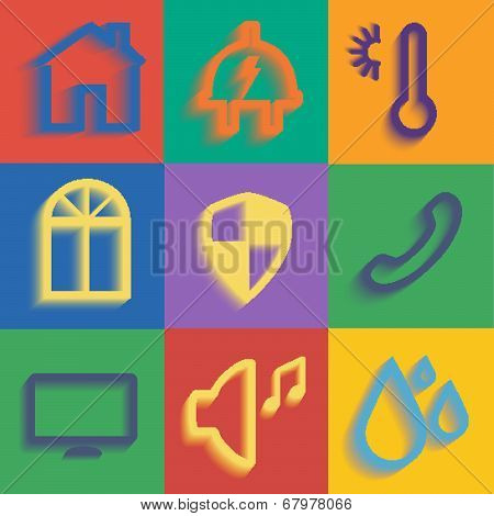 set of differnt icons modern smart home poster