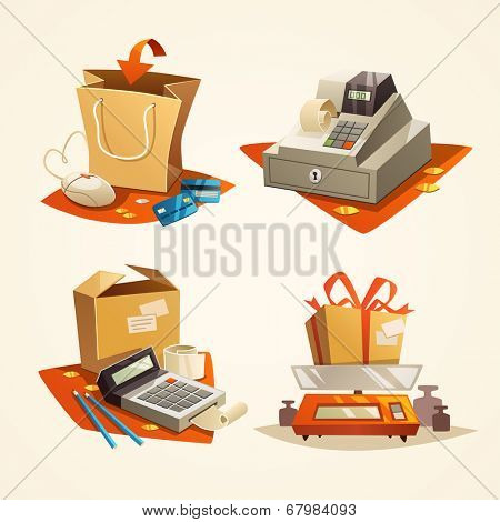 Online shopping concept. Icons. Vector illustration.