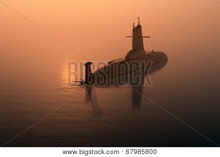 Submarine at sea at sunset.
