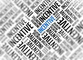 Marketing background with the word - Incentive - repeated in random sizes and orientations in black text with one central word in large blue uppercase lettering and selective focus poster