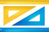 Blue and yellow rulers in  millimeters. Vector objects poster
