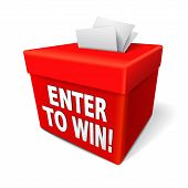 enter to win words on a red box with a slot for entering tickets or entry form to win in a lottery poster