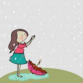 Cute little girl enjoying rains on nature background for Monsoon Season.  poster