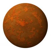 Sphere ball or planet with a rusty iron metal textured surface against white background poster