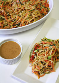 Vegetable Noodle Salad Peanut Sauce Vertical