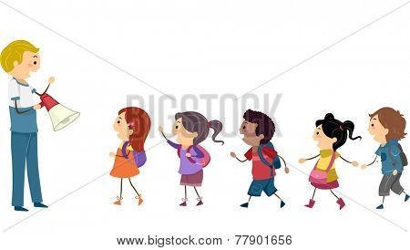 Illustration of Kids Following the Instructions of a Teacher During a School Drill