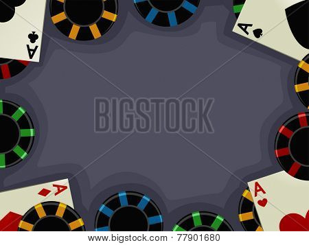 Background Illustration of Aces Accompanied by Casino Chips poster