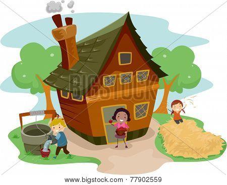 Illustration of Kids Doing Different Tasks Outside a Farm House