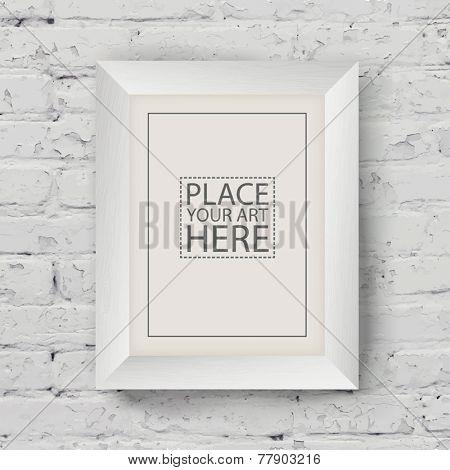 White Wooden Frame on White Brick Wall