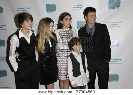 LOS ANGELES - DEC 4:  Corey Fogelmanis, Sabrina Carpenter, Rowan Blanchard, August Maturo, Peyton Meyer at the Looking Ahead Awards at the Taglyan Complex on December 4, 2014 in Los Angeles, CA