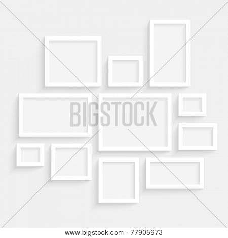 Vector Blank Frames Collection on Wall with Transparent Realistic Shadow Effects