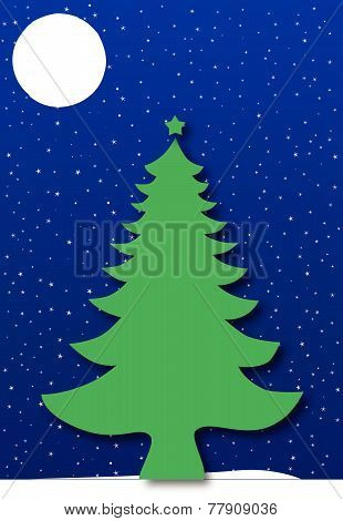Christmas tree under a starry blue night sky
