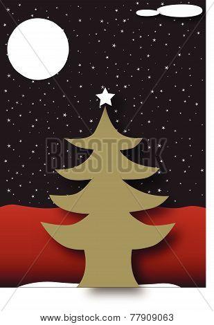 Christmas tree under stars